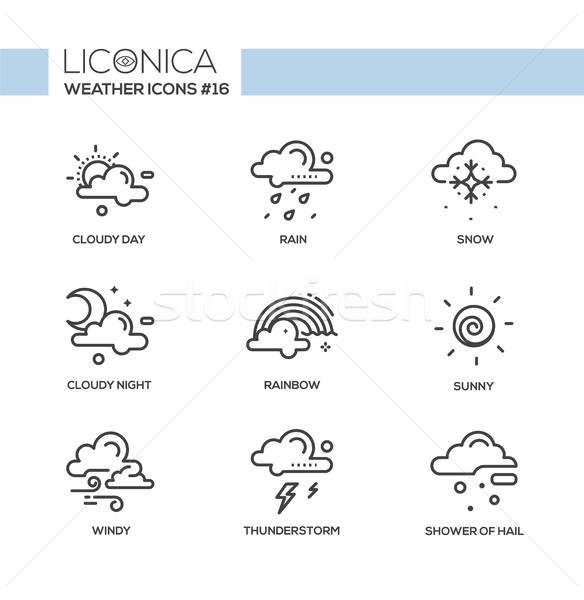 Weather - black and white modern single line icons set Stock photo © Decorwithme