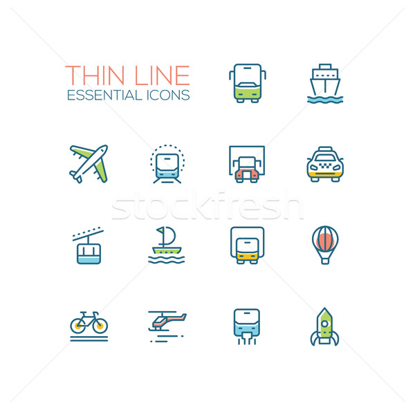 Transport - modern vector single thin line icons set Stock photo © Decorwithme