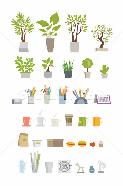 Office Essentials - modern vector flat icons set Stock photo © Decorwithme