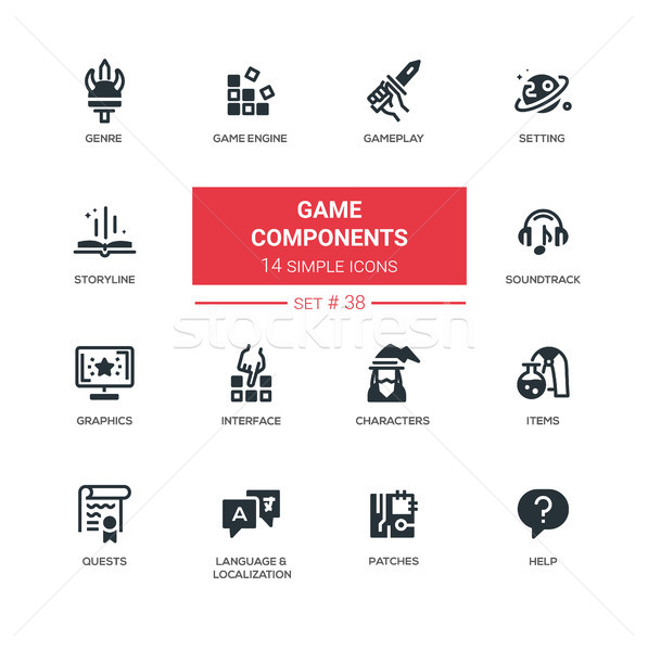 Game Components - modern vector line design pictograms set Stock photo © Decorwithme