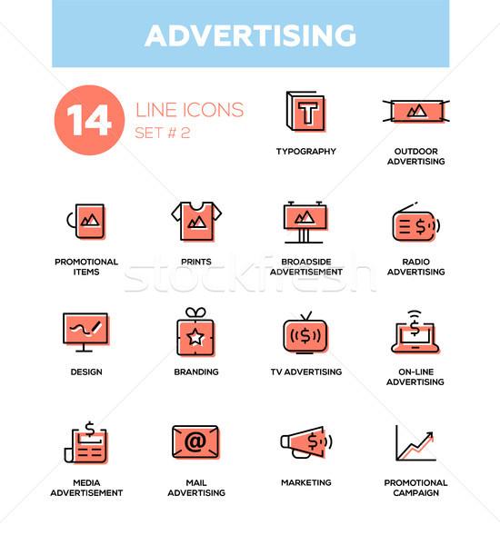 Reklamy nowoczesne proste ikona piktogramy zestaw Zdjęcia stock © Decorwithme