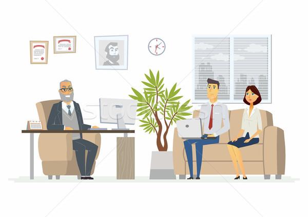 служба голову консультация современных вектора Cartoon Сток-фото © Decorwithme