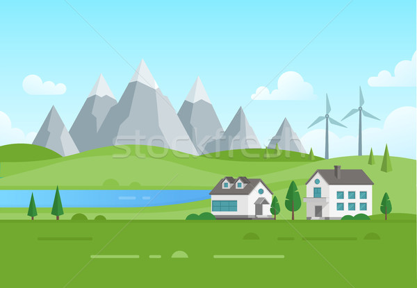 Housing estate with windmills by the lake - modern vector illustration Stock photo © Decorwithme