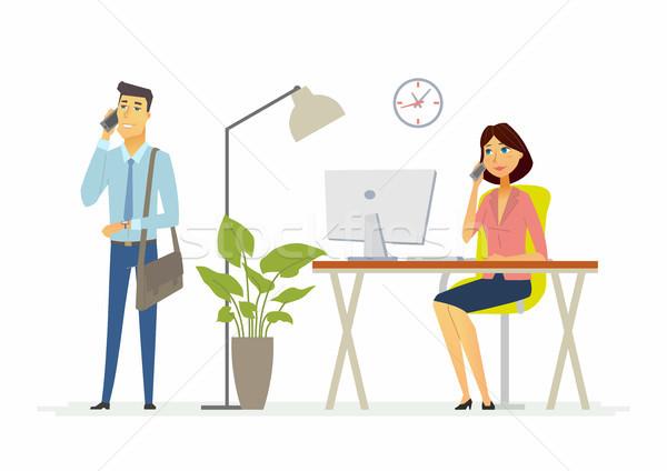 Kollégák munka iroda modern rajzolt emberek betűk Stock fotó © Decorwithme