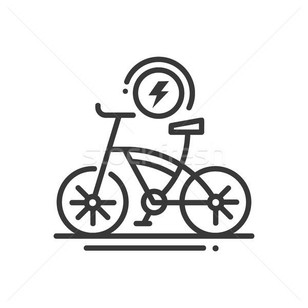 Electric bike - line design single isolated icon Stock photo © Decorwithme