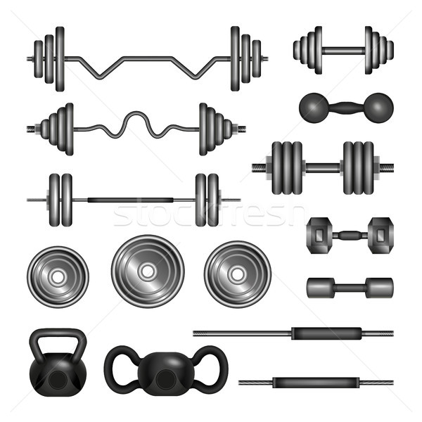 Set of gym equipment - modern vector realistic isolated clip art Stock photo © Decorwithme
