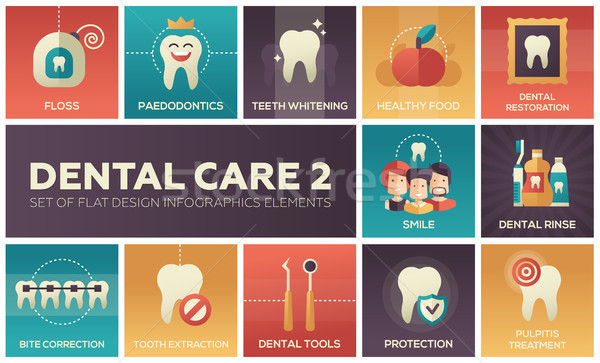 Dental care - set of flat design infographics elements Stock photo © Decorwithme