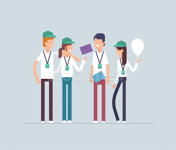 Happy volunteers standing together - modern flat design style isolated illustration Stock photo © Decorwithme