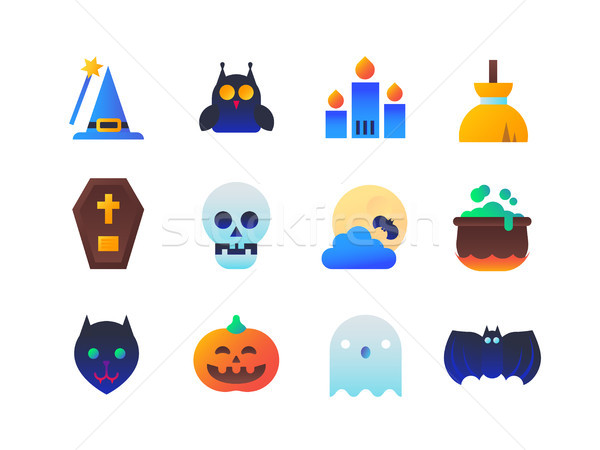 Halloween set design stile icone isolato Foto d'archivio © Decorwithme