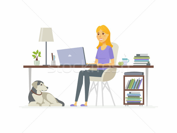 Freelance female worker - cartoon people character isolated illustration Stock photo © Decorwithme