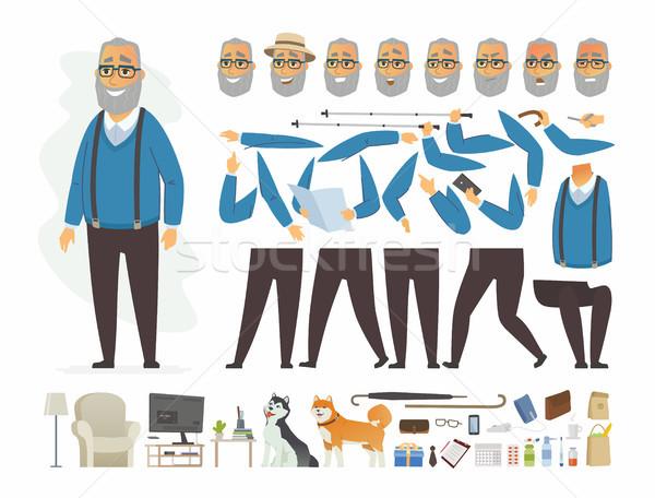 Idős férfi vektor rajzolt emberek karakter izolált Stock fotó © Decorwithme