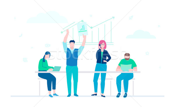 Stock photo: Business analysis - flat design style colorful illustration