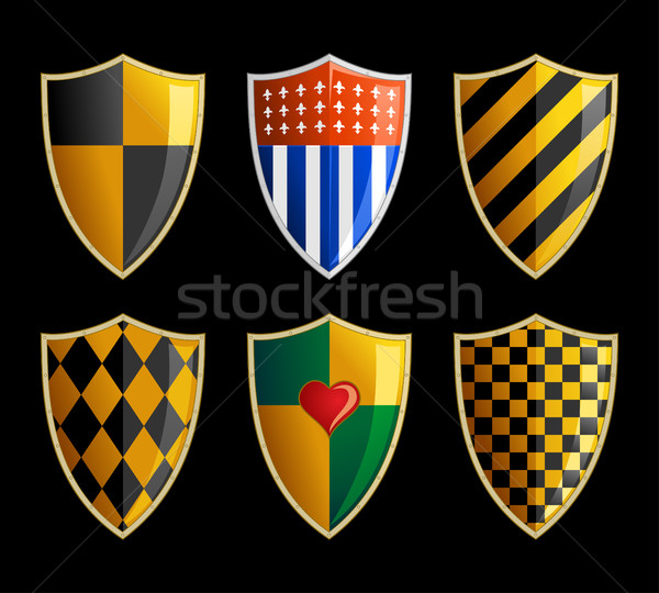 Vector set of medieval shields Stock photo © Decorwithme