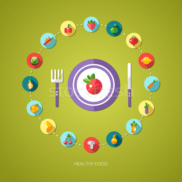 Illustration of flat design fruits and vegetables icons composit Stock photo © Decorwithme