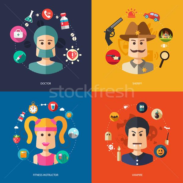 Stock fotó: Illusztráció · terv · üzlet · illusztrációk · emberek · foglalkozások