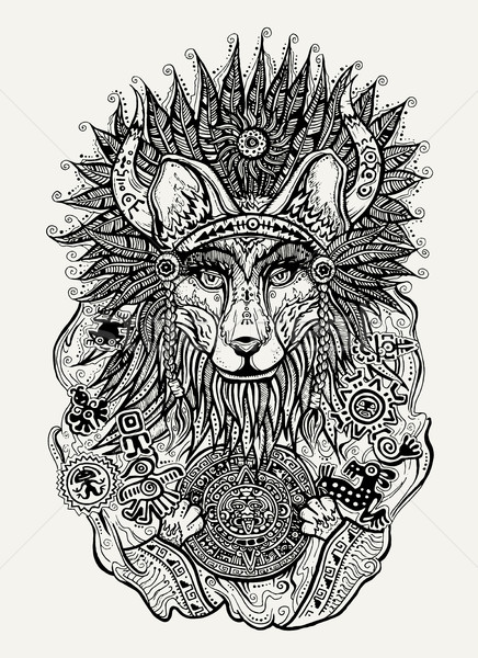 Pen and ink illustration of Indian fox holding Mayan calendar Stock photo © Decorwithme