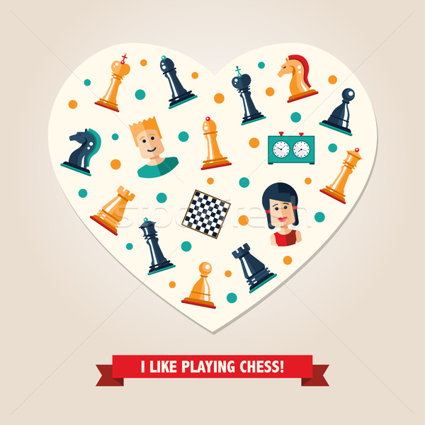 Heart postcard with flat design chess and players icons  Stock photo © Decorwithme