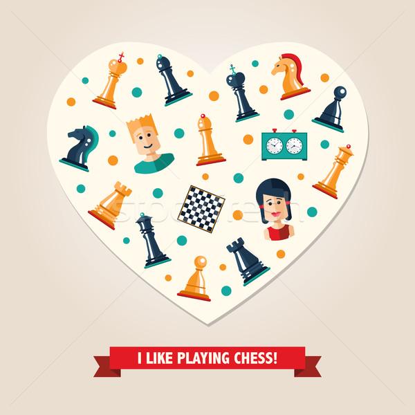 Cuore cartolina design scacchi giocatori icone Foto d'archivio © Decorwithme