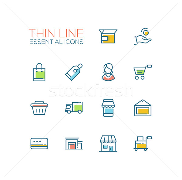Shopping and Delivery Symbols - thick line design icons set Stock photo © Decorwithme