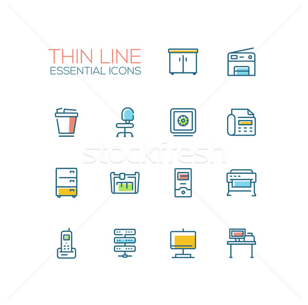 Office Supplies - Thin Single Line Icons Set Stock photo © Decorwithme