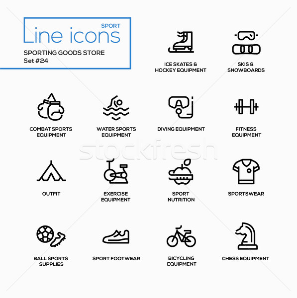 Sporting goods store - modern vector single line icons set Stock photo © Decorwithme