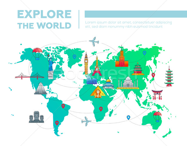 Explore the world - map with famous landmarks Stock photo © Decorwithme