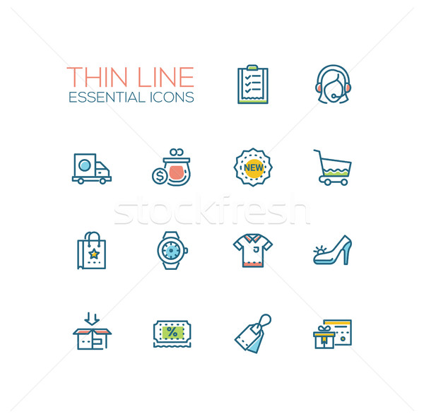 Shopping - line icons set Stock photo © Decorwithme