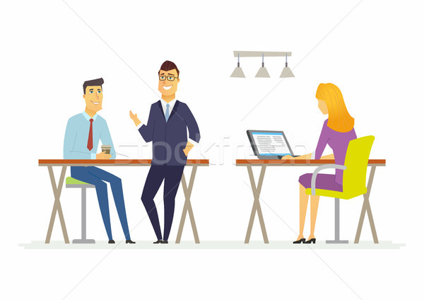 Coffee break in the offce - modern cartoon people characters illustration Stock photo © Decorwithme