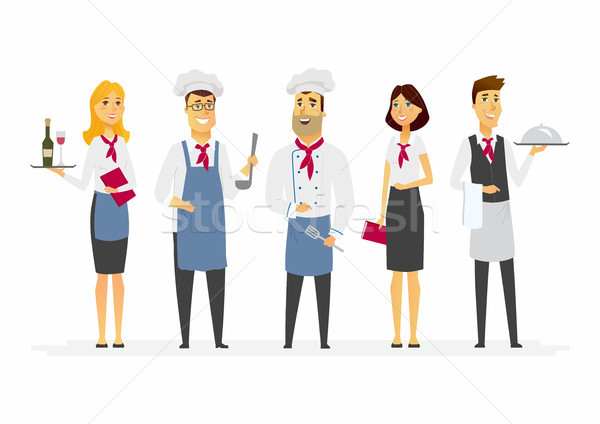 Restaurant staff - cartoon people characters isolated illustration Stock photo © Decorwithme