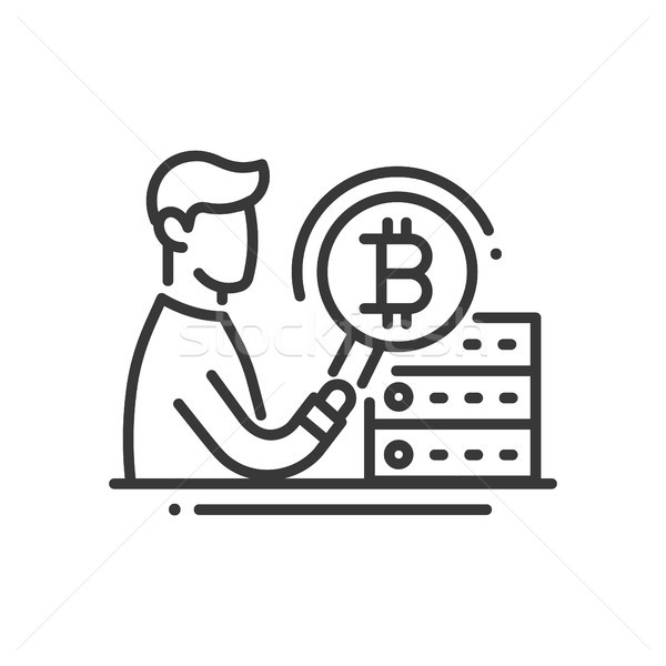 Bitcoin Mining - line design single isolated icon Stock photo © Decorwithme