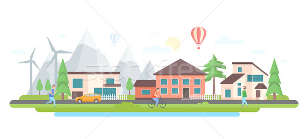 Landscape with hills - modern flat design style vector illustration Stock photo © Decorwithme