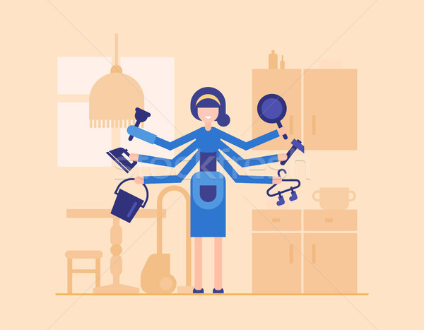 Housewife in the kitchen - modern flat design style illustration Stock photo © Decorwithme