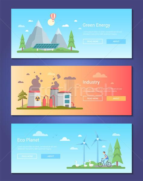 Groene energie ingesteld moderne ontwerp stijl vector Stockfoto © Decorwithme
