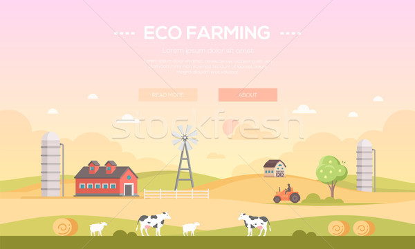 Eco farming - modern flat design style vector illustration Stock photo © Decorwithme