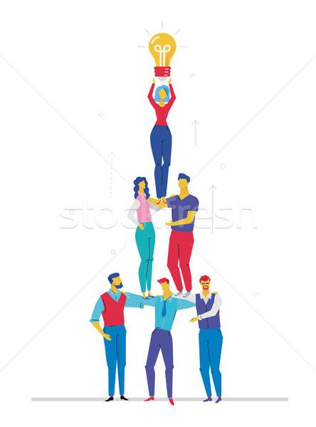 Foto stock: Negócio · idéia · projeto · estilo · colorido · ilustração
