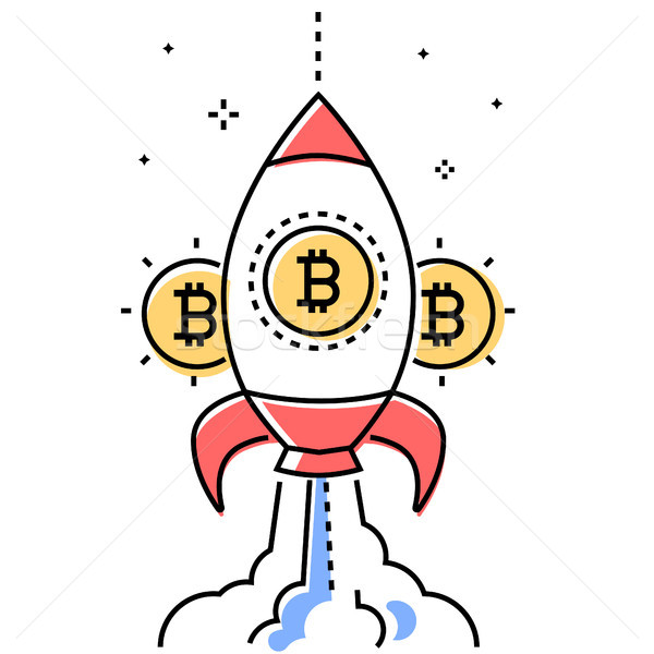 Bitcoin business - colorful line design style conceptual illustration Stock photo © Decorwithme