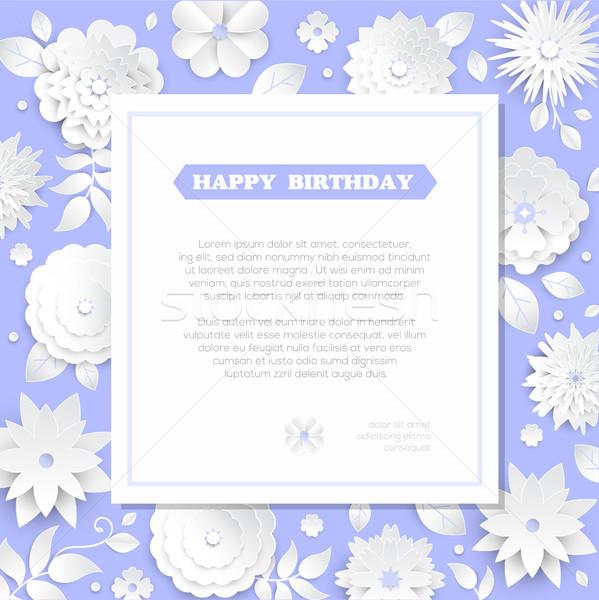 Stock foto: Alles · Gute · zum · Geburtstag · modernen · Vektor · farbenreich · Illustration · blau