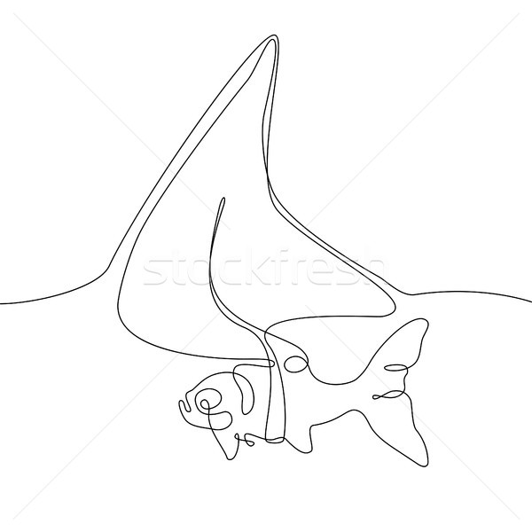 Fish with a shark fin - one line design style illustration Stock photo © Decorwithme