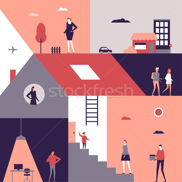 Life scenes - flat design style illustration Stock photo © Decorwithme