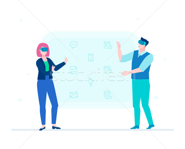 Man and woman in VR glasses - flat design style illustration Stock photo © Decorwithme