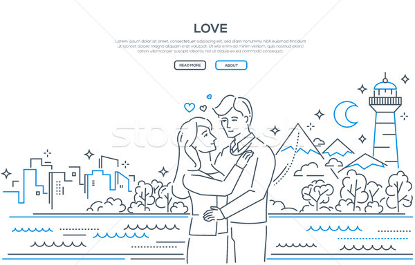 Love - line design style banner Stock photo © Decorwithme