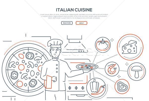 Italian cuisine - line design style banner Stock photo © Decorwithme