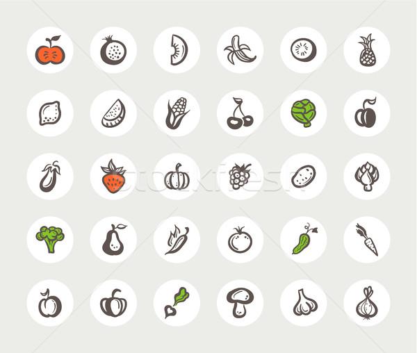 Ingesteld ontwerp vruchten groenten vector Stockfoto © Decorwithme