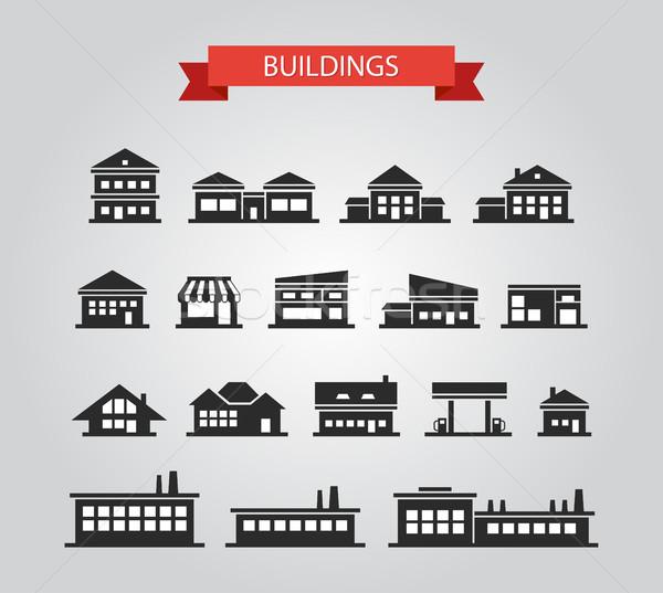 Establecer diseno edificios pictogramas vector negocios Foto stock © Decorwithme