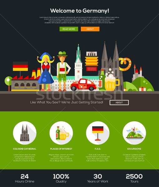 Utazó Németország weboldal fejléc szalag webdesign Stock fotó © Decorwithme