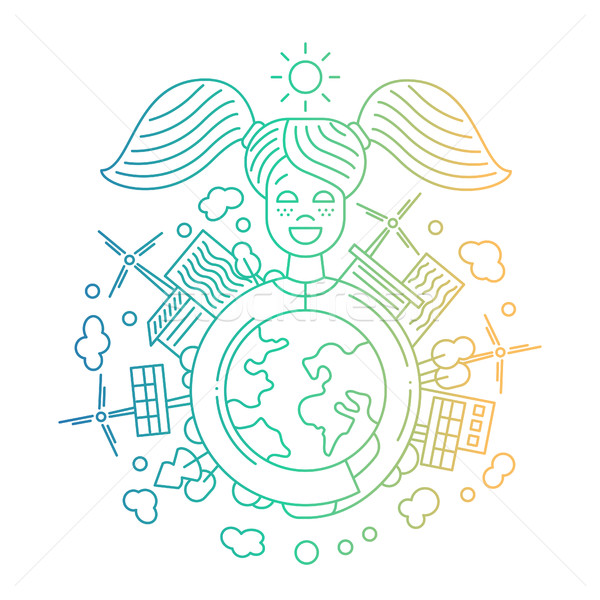 Ecology and alternative energy - line design illustration Stock photo © Decorwithme
