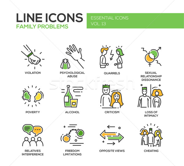 Family problems- line design icons set Stock photo © Decorwithme