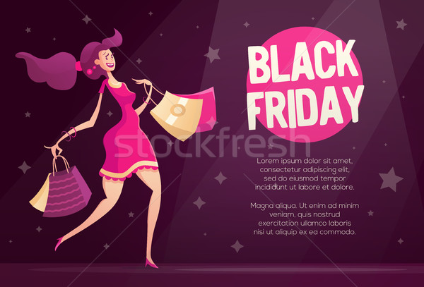 Black friday aviador modelo feliz feminino Foto stock © Decorwithme