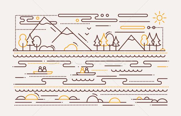 Water Tourism - line flat design illustration Stock photo © Decorwithme