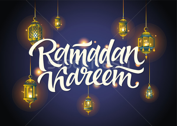Ramadan briefkaart illustratie hand schrijven lantaarns Stockfoto © Decorwithme